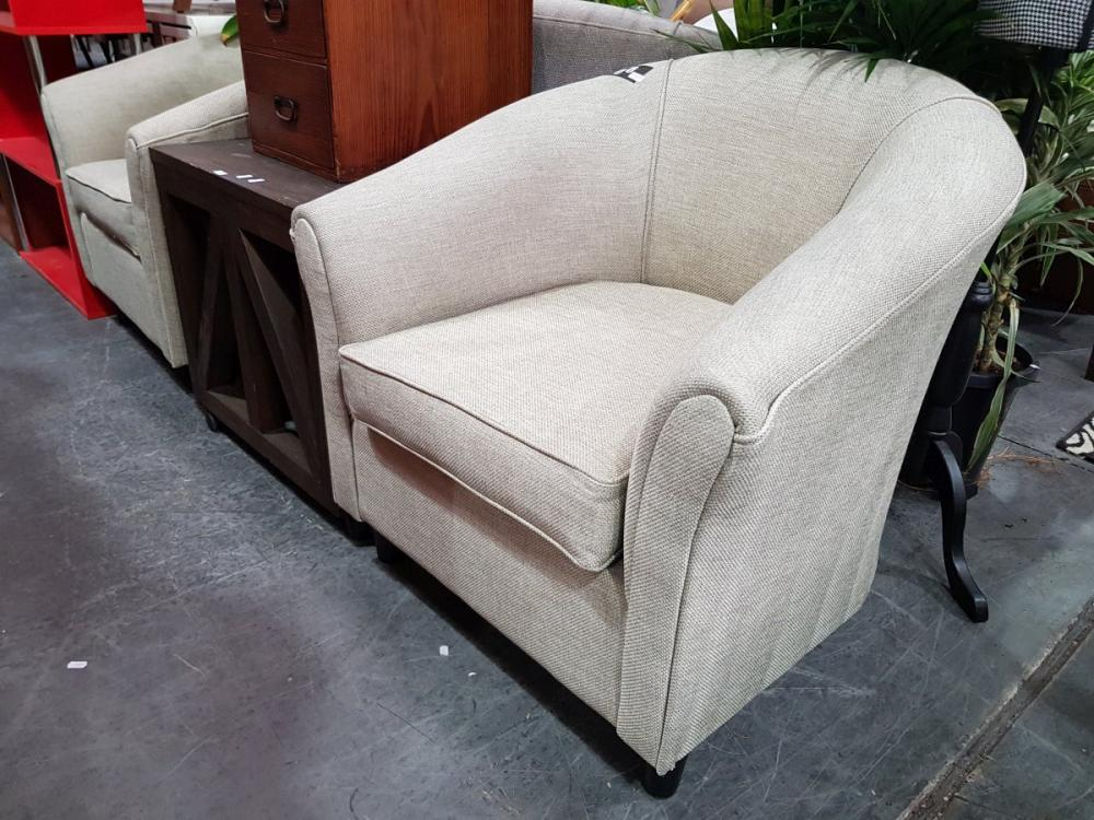Pair of Modern Upholstered Tub Chairs