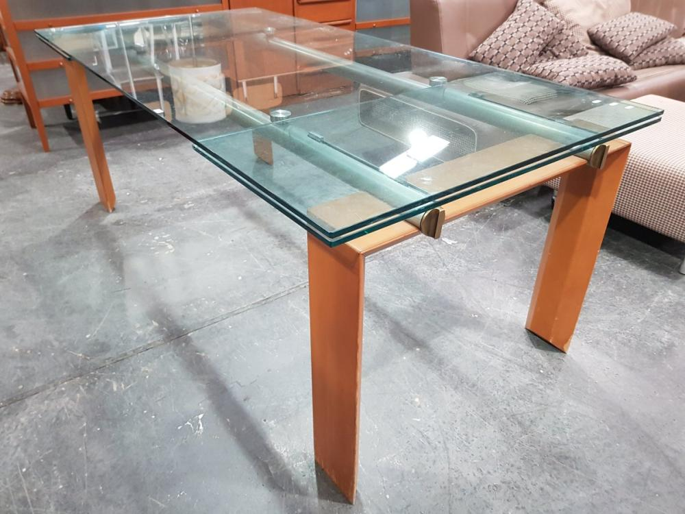 Modern Glass Top Extension Table over Timber Legs