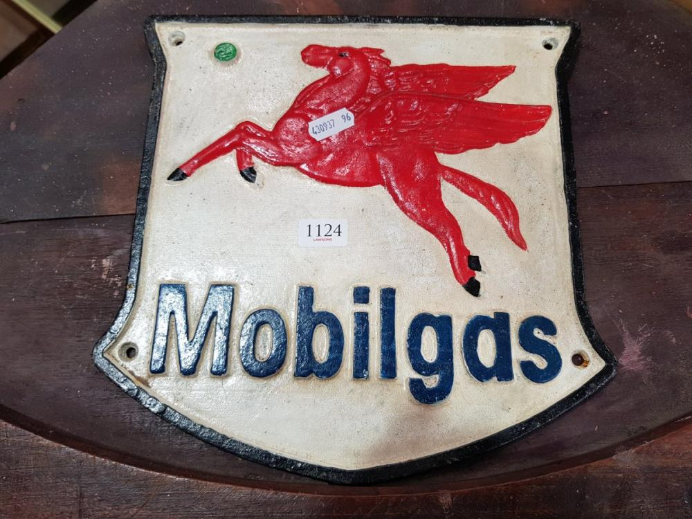 Cast Iron Mobil Gas Sign