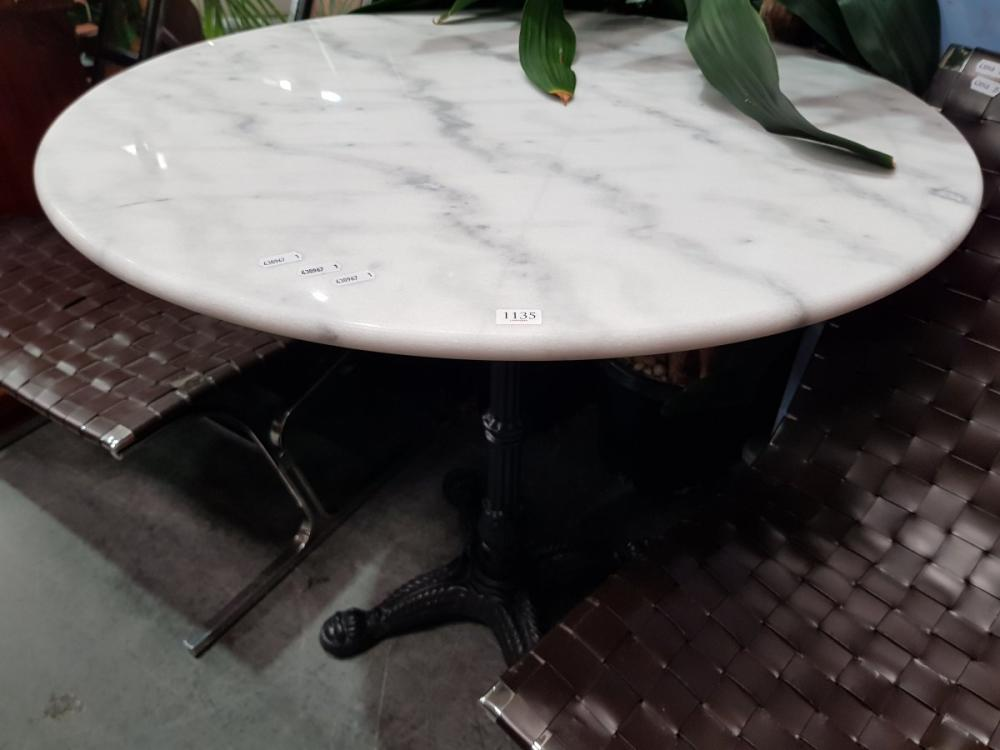 Waterproofed Round White Marble Top Table on Cast Iron Base (D: 80cm)