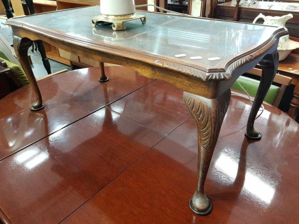 Carved Timber Coffee Table with Glass Insert Top on Cabriole Legs