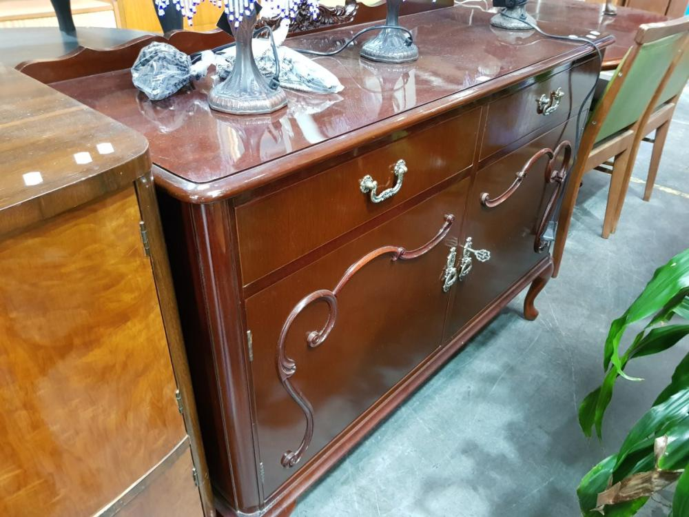 Timber Sideboard with Two Doors on Cabriole Legs