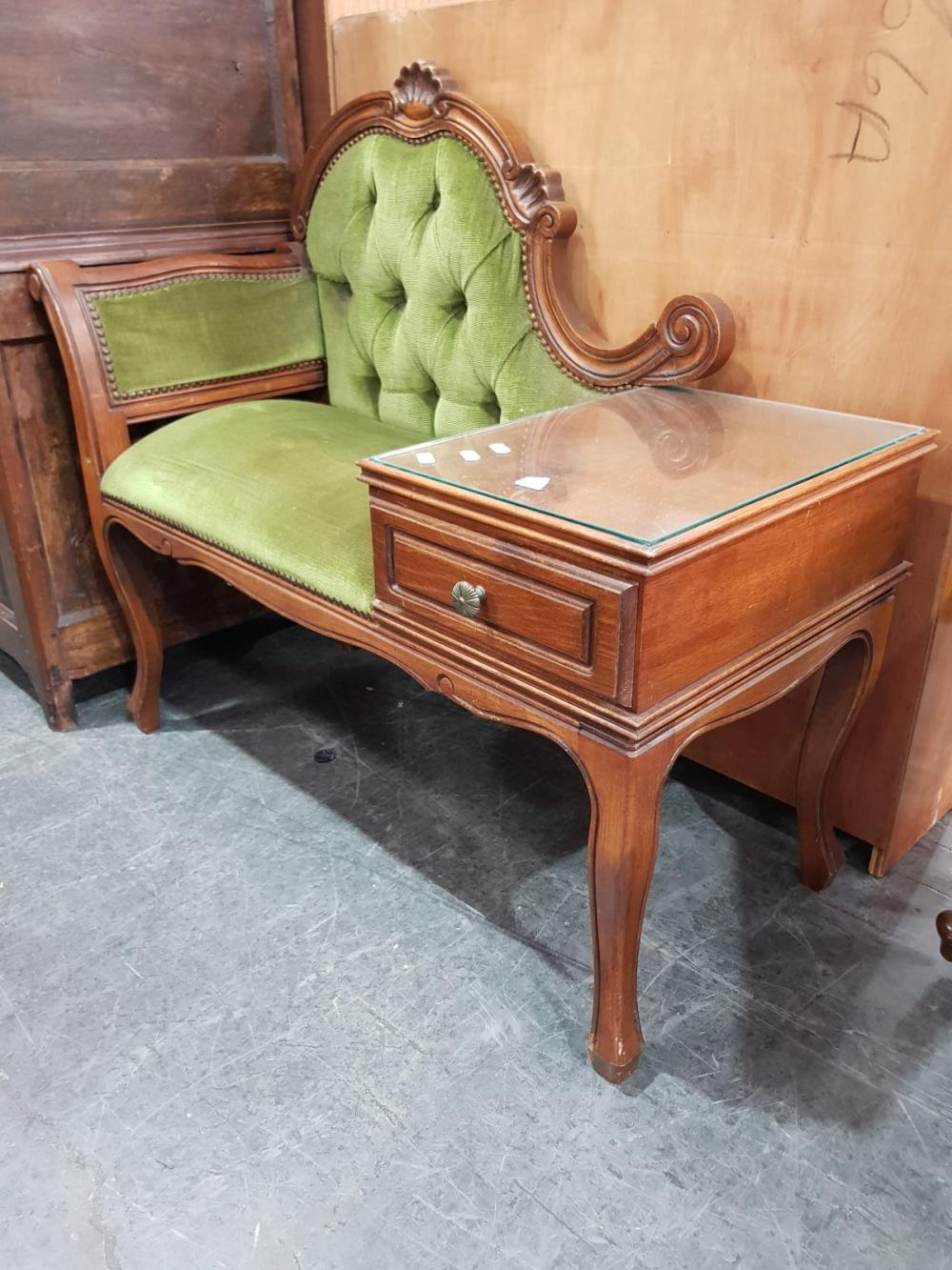 Upholstered Back Telephone Table
