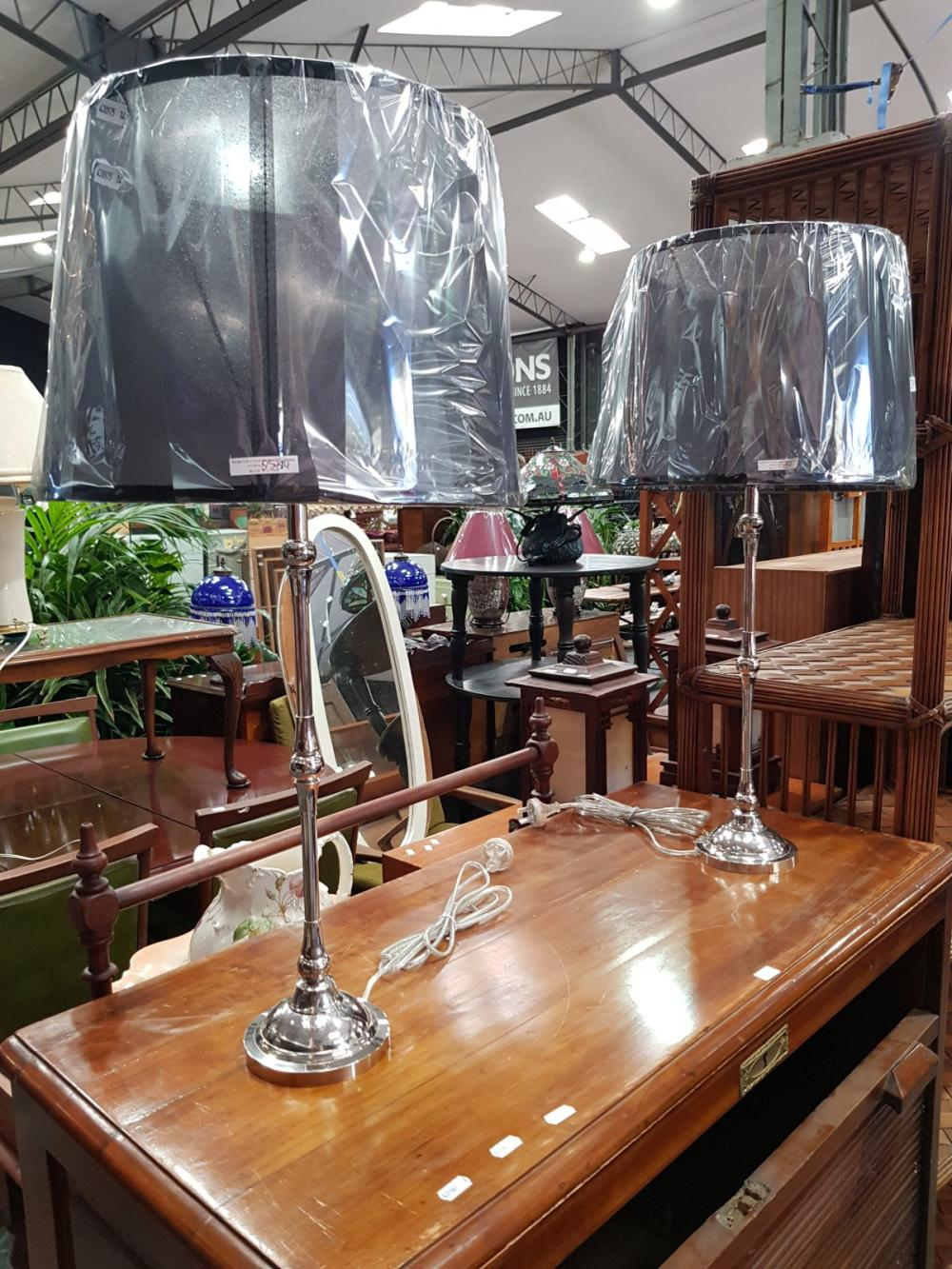 Pair of Tall Chrome Table Lamps (5584)