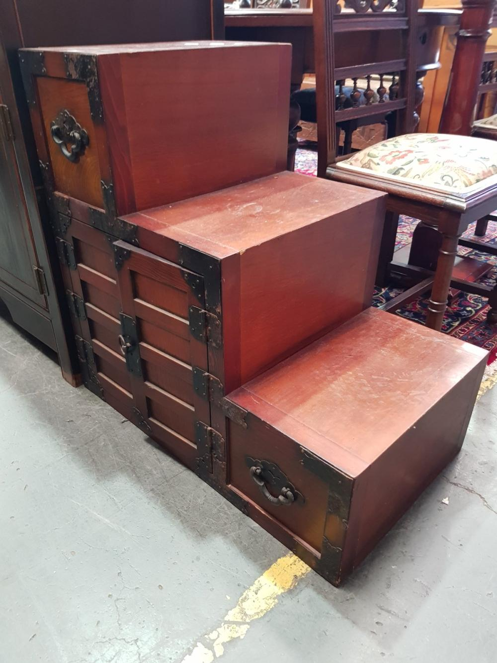 Pair of Oriental Step Side Cabinets