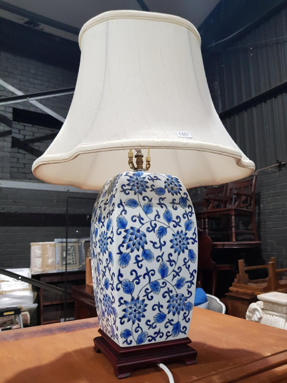 Pair of Blue and White Oriental Table Lamps