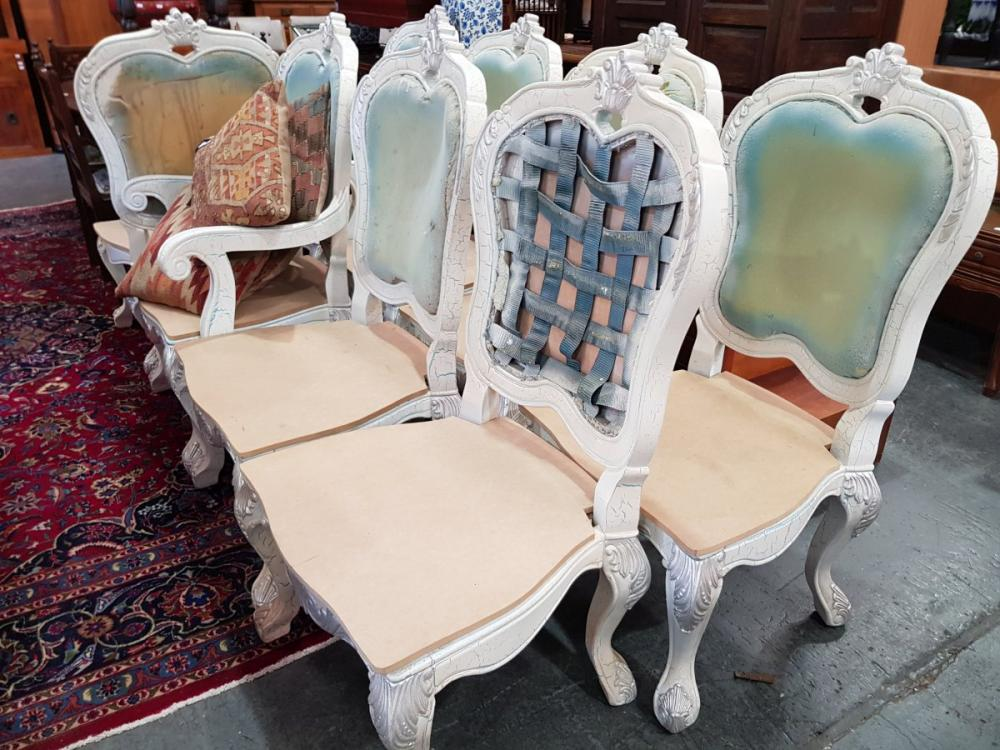 Set of 8 French Style Hand Painted Chairs inc 2 Carvers