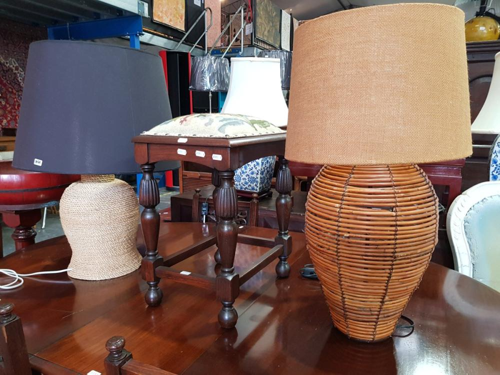 Wicker Table Lamp and Cane Example