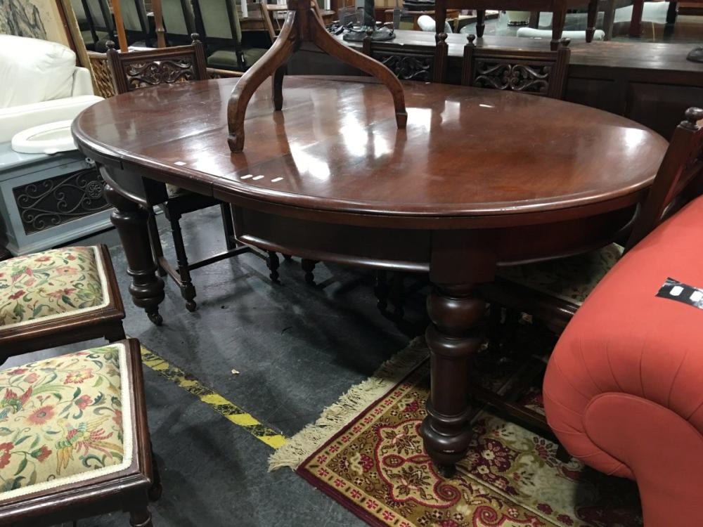 Mahogany Oval Extension Dining Table