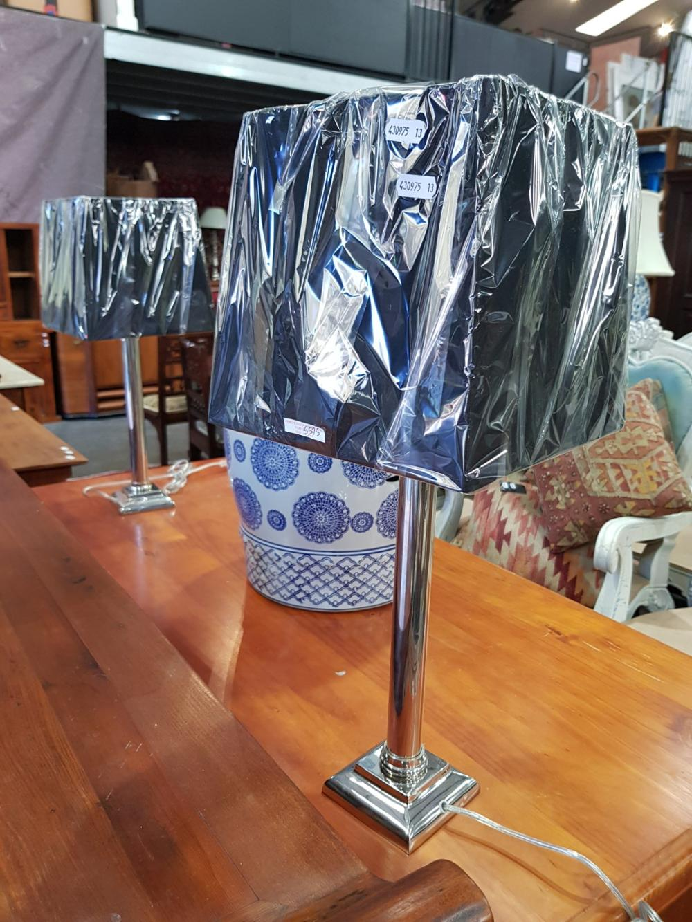 Pair of Chrome Column Form Table Lamps (5575)