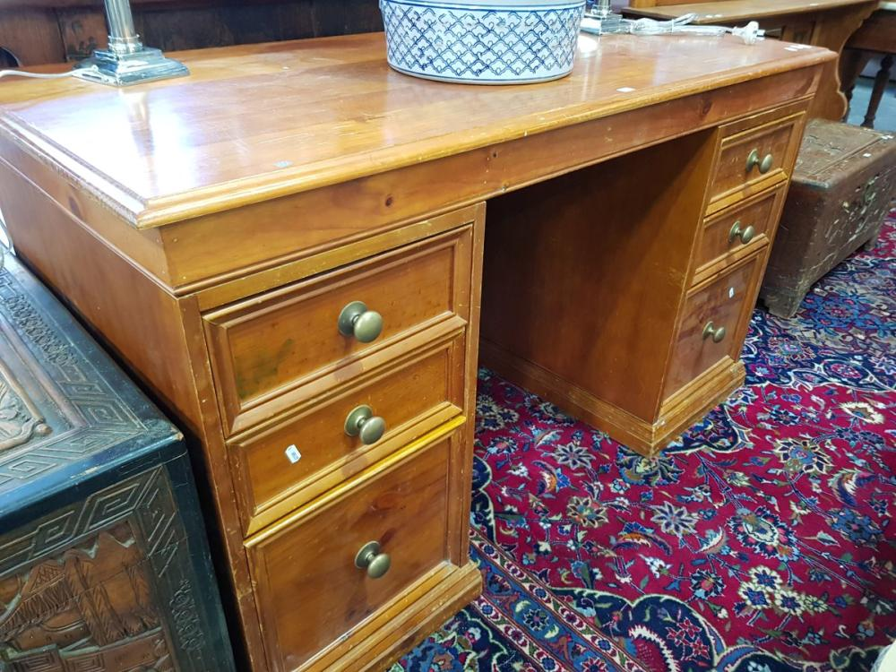Pine Twin Pedestal Desk with Six Drawers