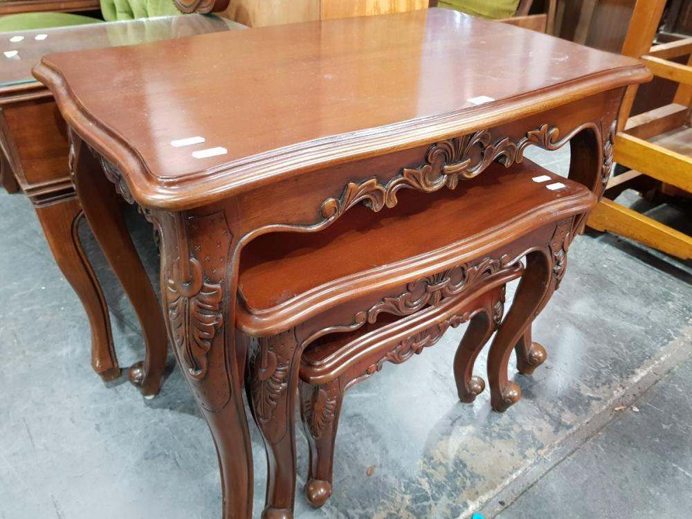 Nest of Carved Occasional tables