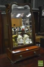 Georgian Style Mahogany Toilet Mirror, fitted with a drawer & on bracket feet