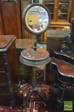 Late Victorian Walnut Shaving Stand, with circular mirror, two hinged compartments & turned pedestal
