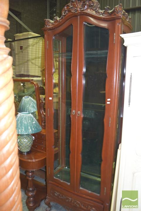 Tall Display Cabinet On Balland Claw Feet With Glass Shelves