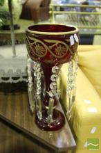 Pair of Ruby Glass Lusters