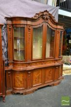 Large Bur Walnut Bookcase over Sideboard