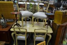 French Style Seven Piece Dining Setting incl. Extension Table & Six Chairs
