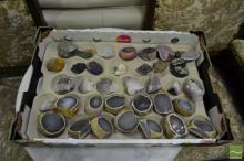 Box of Agate, Amethyst etc