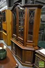 Timber Bookcase with Two Glass Panel Doors Above Two Drawers & Doors (2 x Keys in Office)