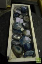 Tray of Blue Agate Base Cut Ends