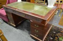 Timber Twin Pedestal Desk with Inlaid Leather Top & Nine Drawers