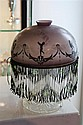 Vintage Painted & Beaded Lamp Shade with Crystal Support