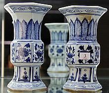 Pair of Chinese Blue and White Hexagonal Vases