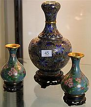 Group of 3 Cloisonne Vases on Stands