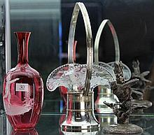 Glass and EP Basket, Canberry Mary Gregory Style Vase (chip), and EP Bird Epergne Base