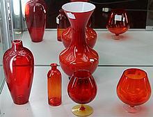 5 Red and Orange Art Glass Vases