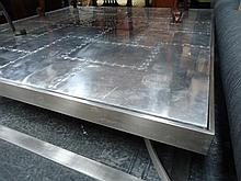 Square Aluminium and Stainless Steel Riveted Coffee Table