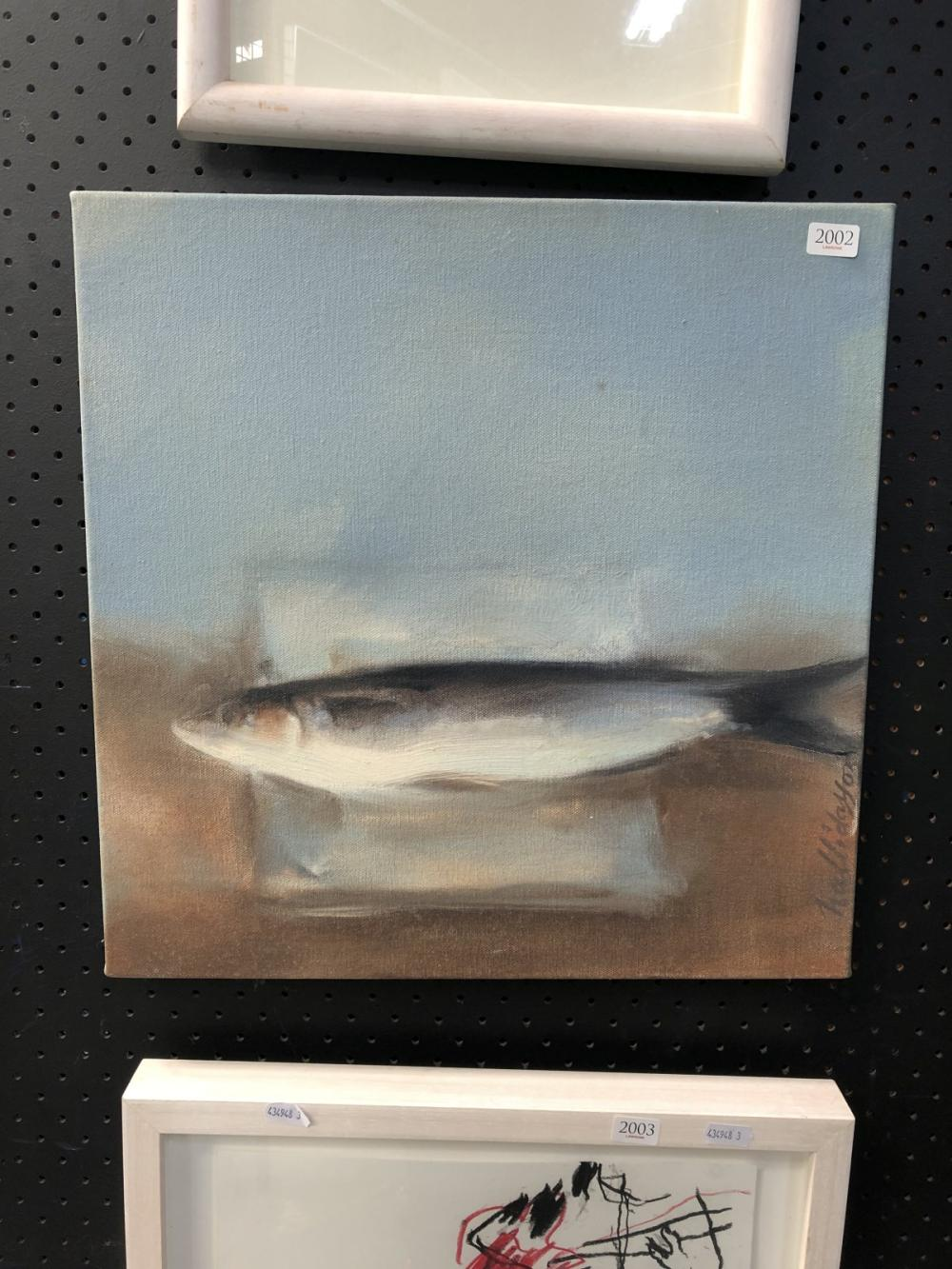 """Helen Halliday - """"Stunned Mullet"""", acrylic on canvas, 40 x 40cm, signed lower right"""