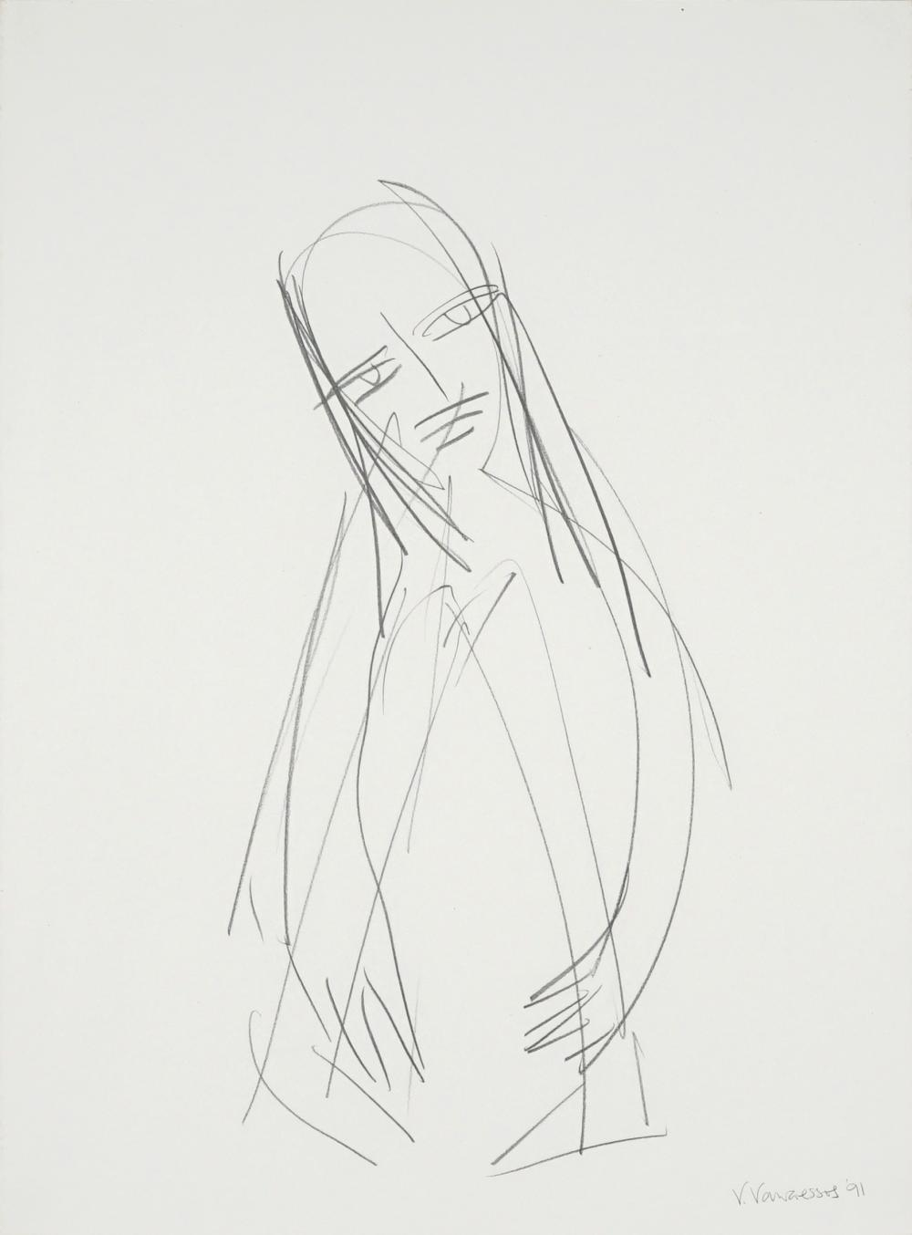 Vicki Varvaressos (1949 - ) - Crouching Woman, 1991 76 x 56cm
