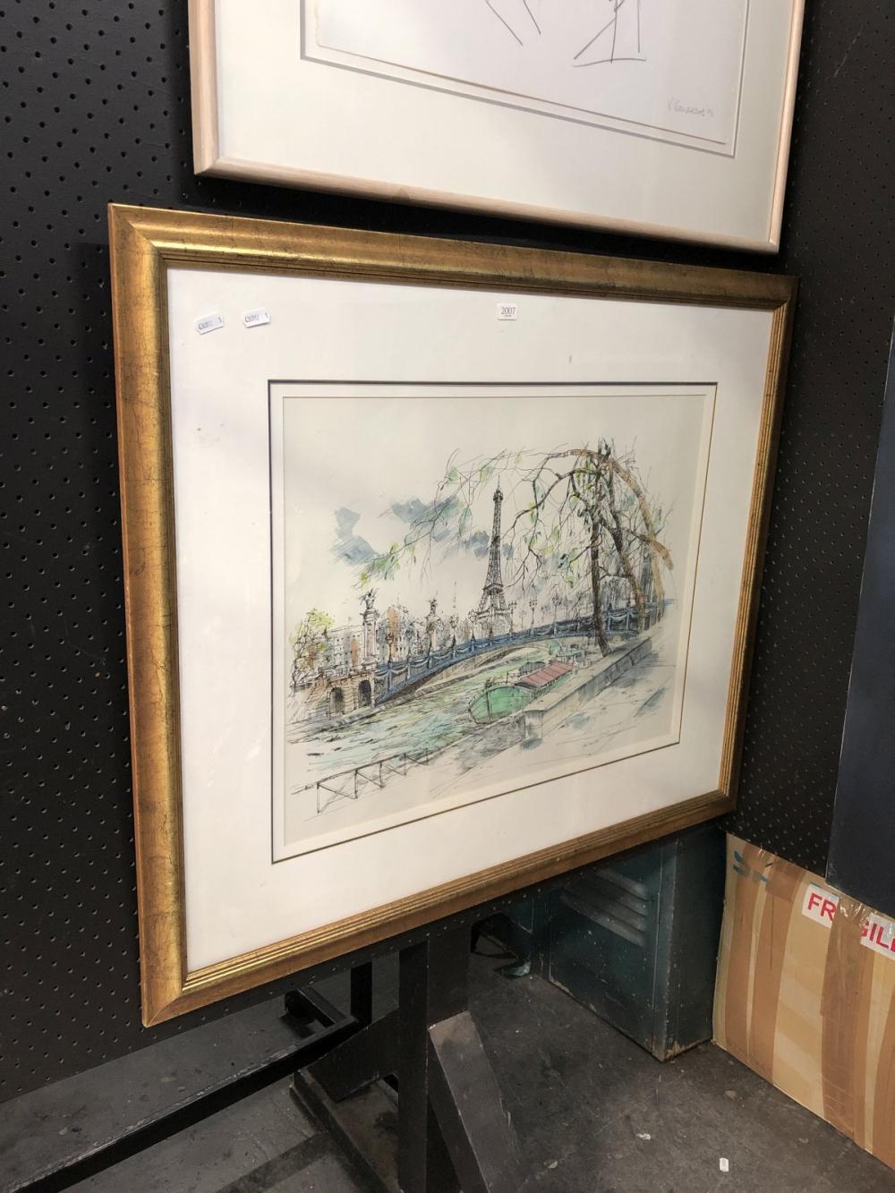 Artist Unknown - Paris Scene, pen & wash, SLR