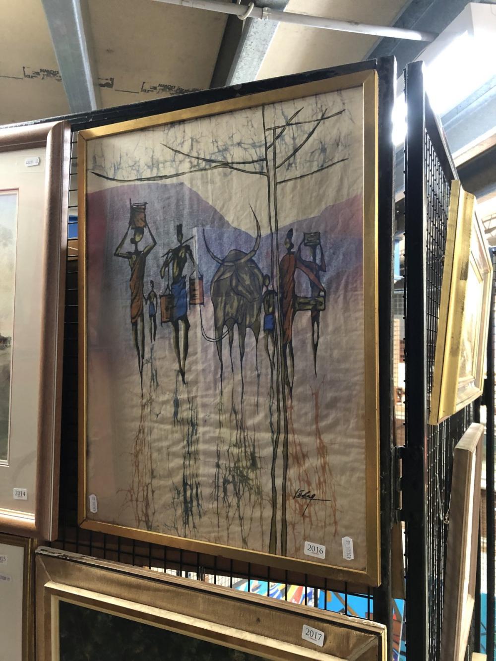 "An Asian Batik, 57 x 43cm (frame), signed ""Kheng"" lower right"