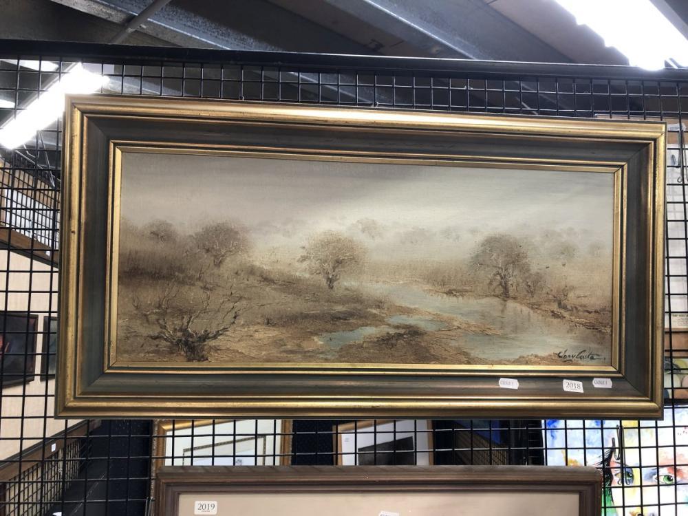 Tony Costa - 'Morning Mist Turon River Sofala', oil on board, frame 38.5 x 76cm, signed lower right