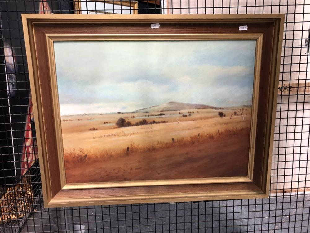 W J Spencer - Rainy Weather, oil on board, frame size - 57 x 72.5cm, signed lower right