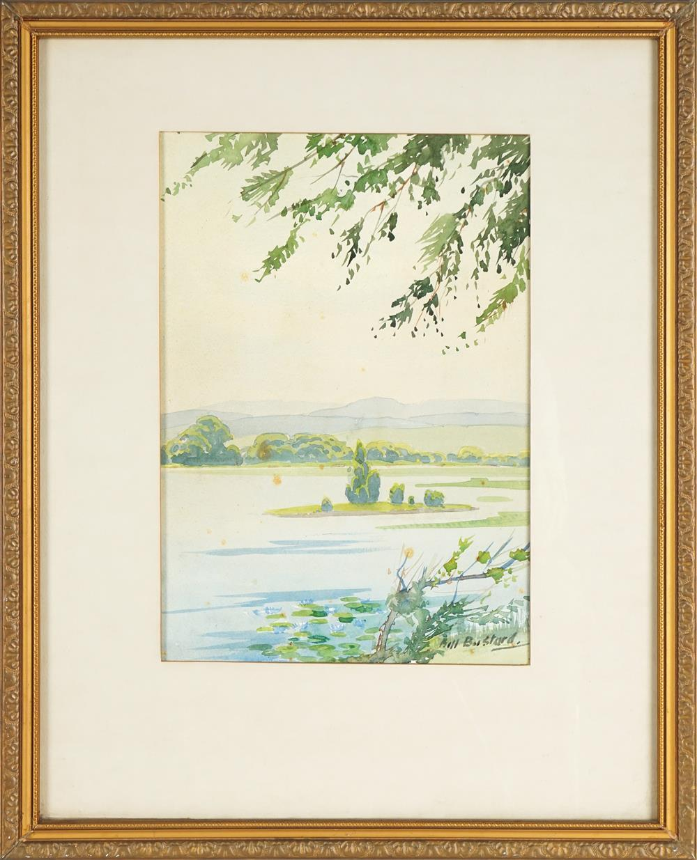 William Bustard (1894 - 1973) - Country Landscape with River 34 x 23.5cm