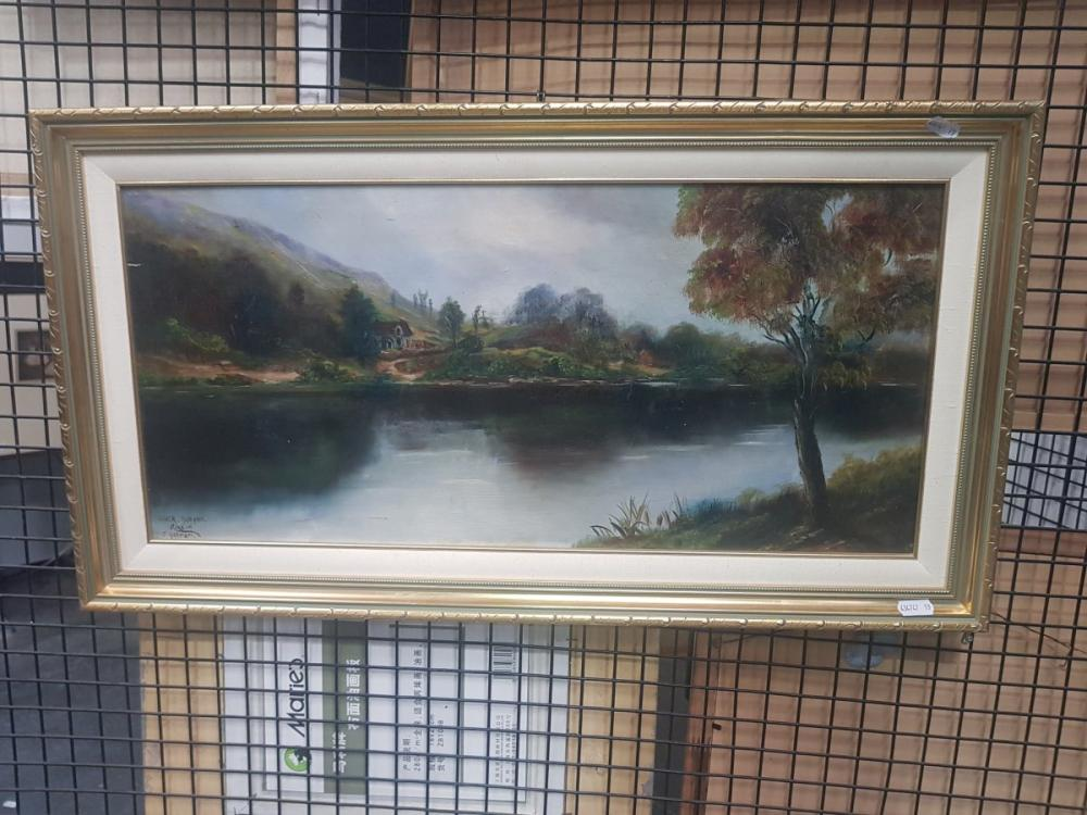 Early Oil Painting of 'River Dochart' by F Harman, signed and inscribed