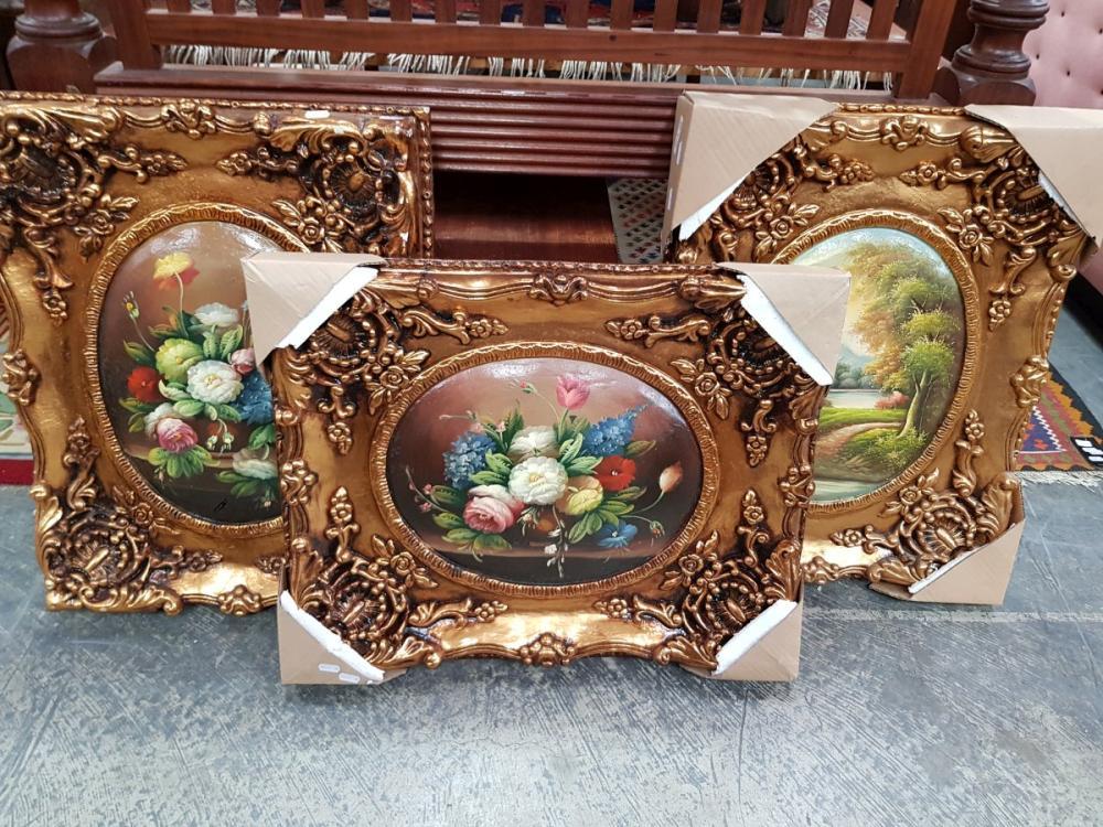 Set of 3 Reproduction Artworks in Ornate Frames