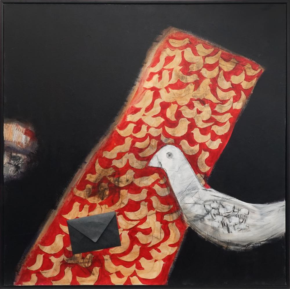 J Townson - White Bird and Letter 91.5 x 91.5cm