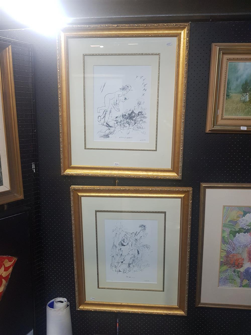 Garry Shead (2 works) 'Anapholes Mosquito'; 'Ern and Muse', decorative prints