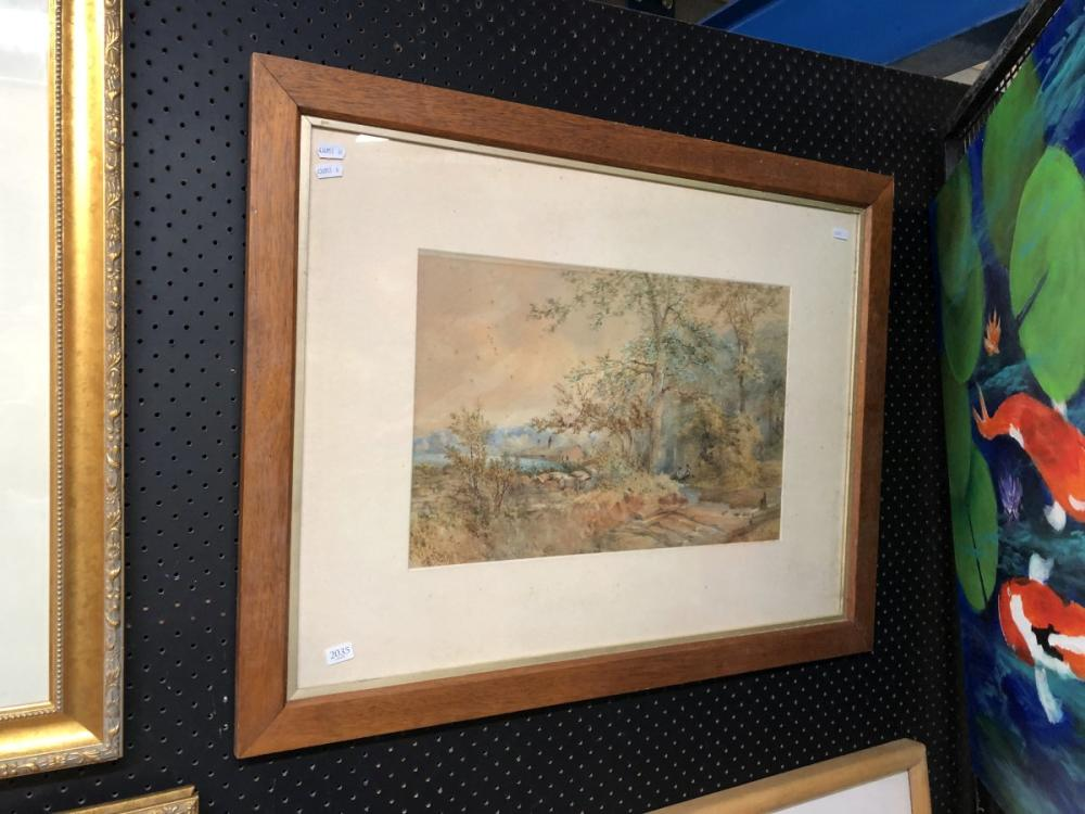 Artist Unknown - 'Country Scene, 1886', watercolour, frame size - 62 x 80cm, signed lower left