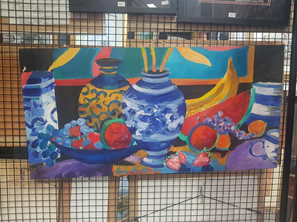 """Artist Unknown - """"Summer Still Life #3, 2008"""", acrylic on canvas, 46 x 92cm, signed lower right"""