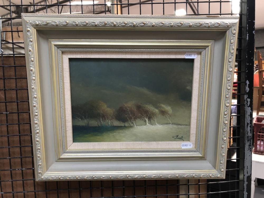 "Livio M Sveiu - ""Storm Swept Trees"", oil on board, 40 x 34cm, signed lower right"