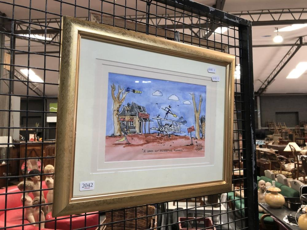 """Peter Browne - """"A Land of Sweeping Planes"""", ink and watercolour, 40 x 34cm, signed lower right"""