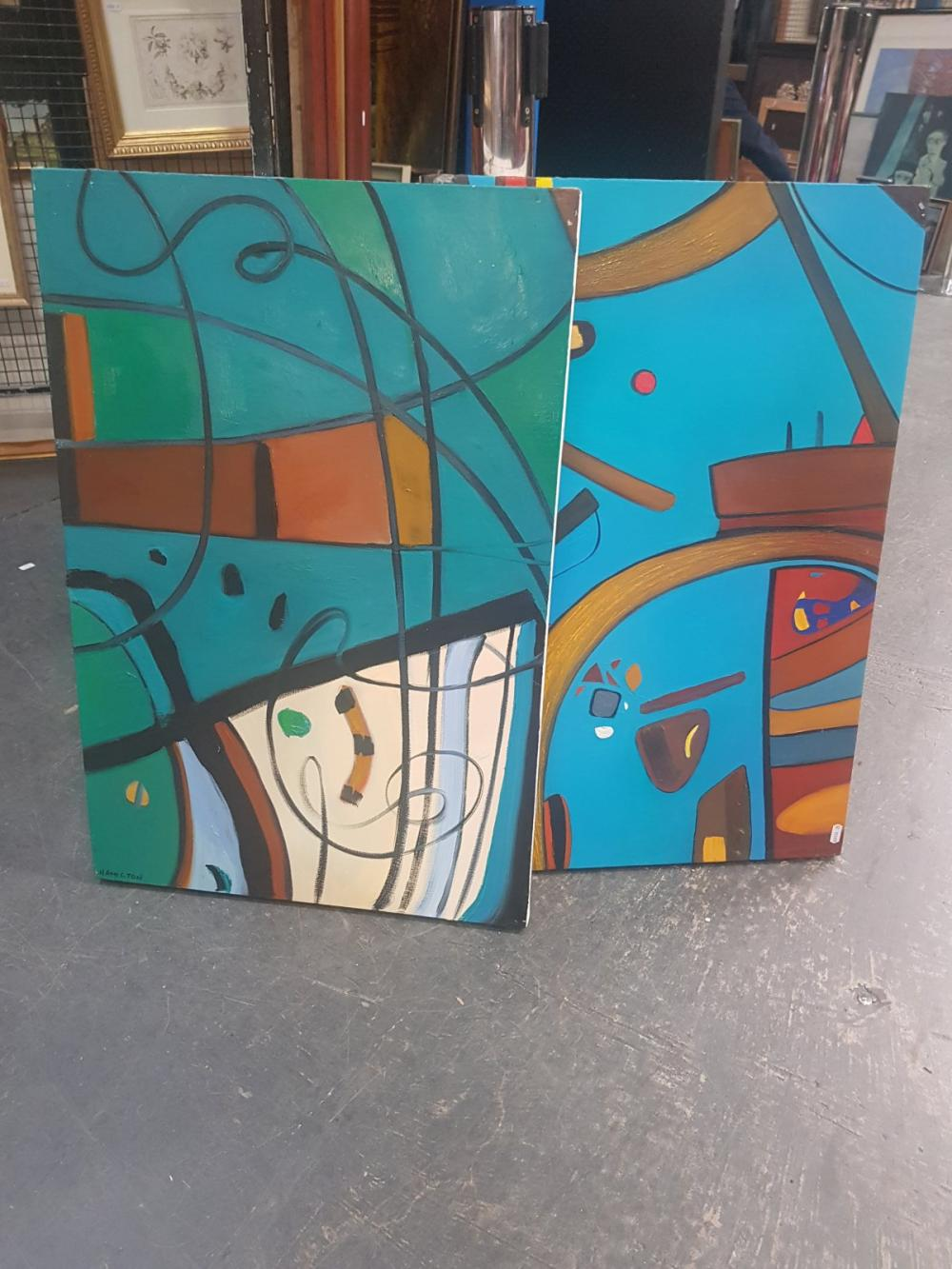 Artist Unknown (2 Works): Sydney Harbour Scenes, acrylic on canvas, 76 x 51cm, each, signed lower