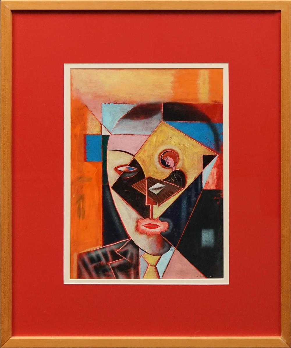 """Anthony Chiappin - """"Cubist Head"""" oil on board, 41 x 30cm signed lower right -"""