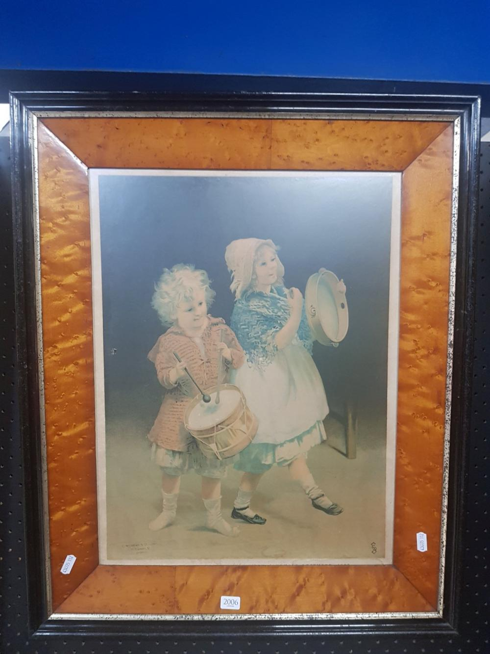 C18th Chromolithograph in antique frame, frame size: 68 x 66cm